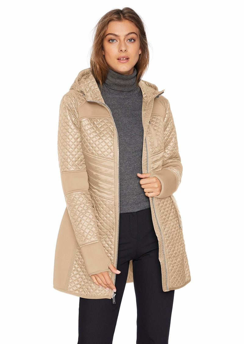 London Fog Women's Zip Front Thigh Length Quilt and Knit Coat with Hood  XL
