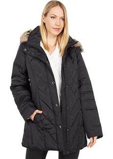 London Fog Short Quilted Puffer Coat w/ Faux Fur Hood