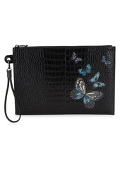 Longchamp Butterfly Croc-Embossed Leather Wristlet