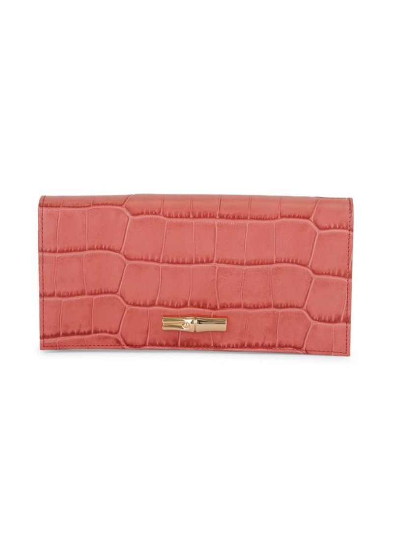 Longchamp Croc-Embossed Leather Foldover Wallet