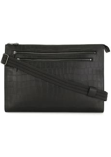 Longchamp crocodile-effect leather clutch bag
