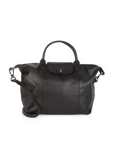 Longchamp Medium Le Pliage Cuir Leather Top Handle Bag