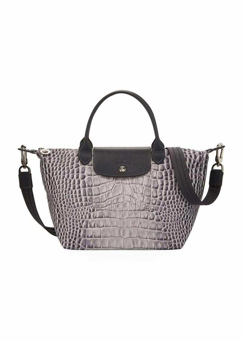 ab8aa68d5 Longchamp Le Pliage Croco Small Handbag with Strap