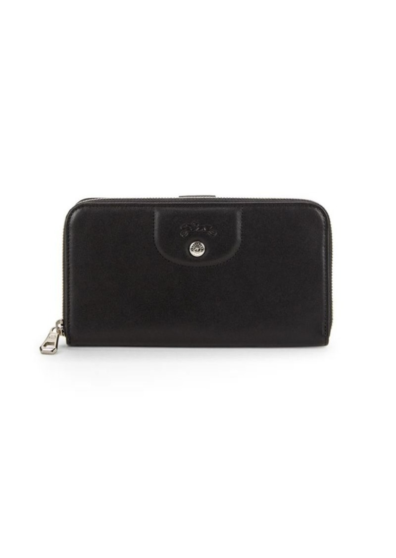 Longchamp Le Pliage Cuir Leather Zip-Around Wallet