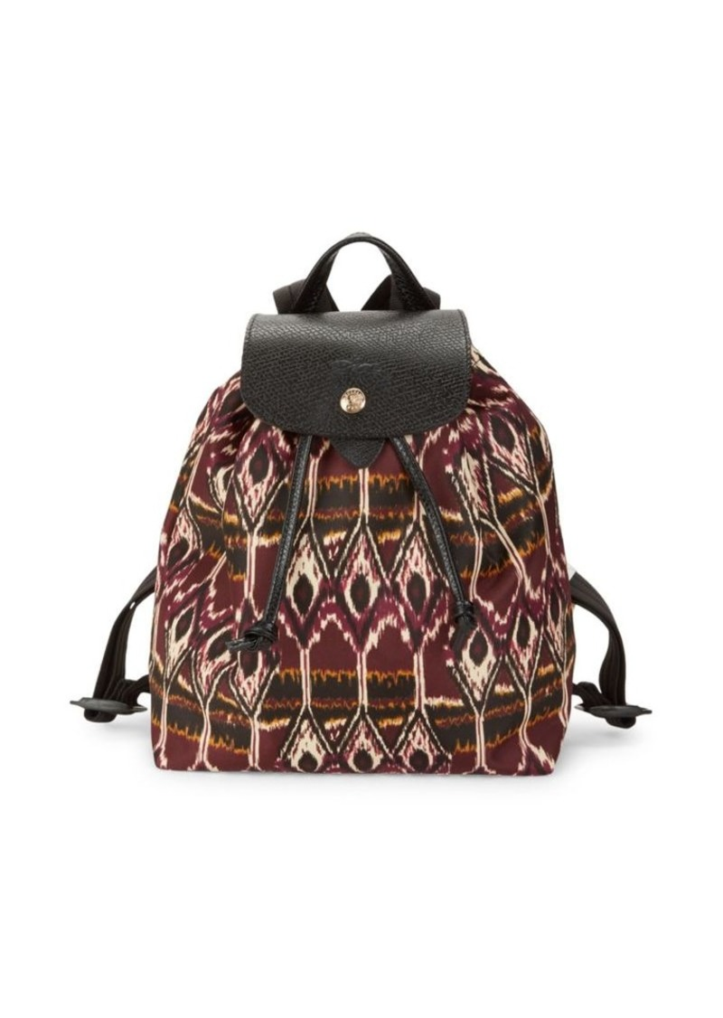 Longchamp Le Pliage Ikat Leather-Trim Backpack