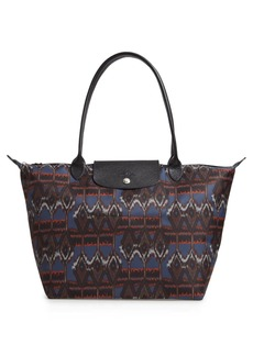 Longchamp Le Pliage Leather Trimmed Ikat Shoulder Tote Bag