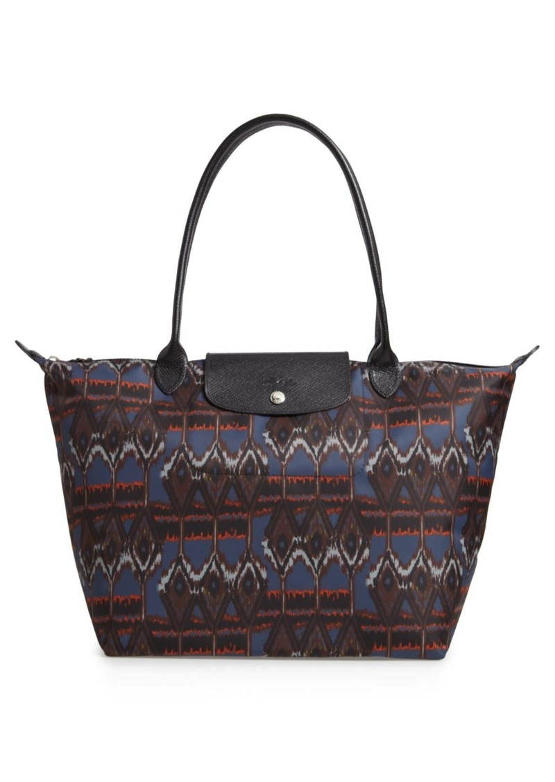 Longchamp Le Pliage Leather Trimmed Ikat Shoulder Tote Bag