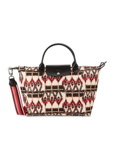 Longchamp Le Pliage Leather-Trim Printed Tote