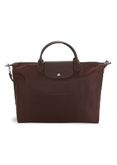 Longchamp Le Pliage Leather-Trim Top Handle Bag