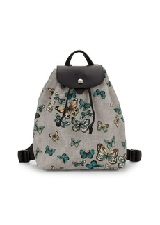 Longchamp Le Pliage Neo Butterfly-Print Nylon & Leather-Trim Backpack