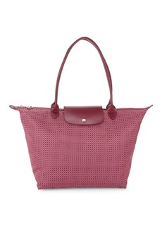 Longchamp Leather-Trim Printed Tote
