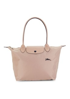 Longchamp Leather-Trim Shoulder Bag