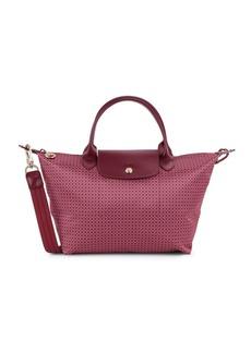Longchamp Leather-Trim Top Handle Bag