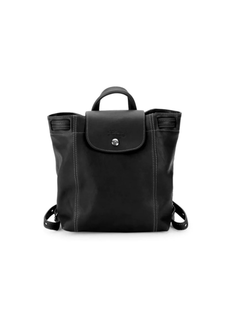 Longchamp Logo Leather Backpack