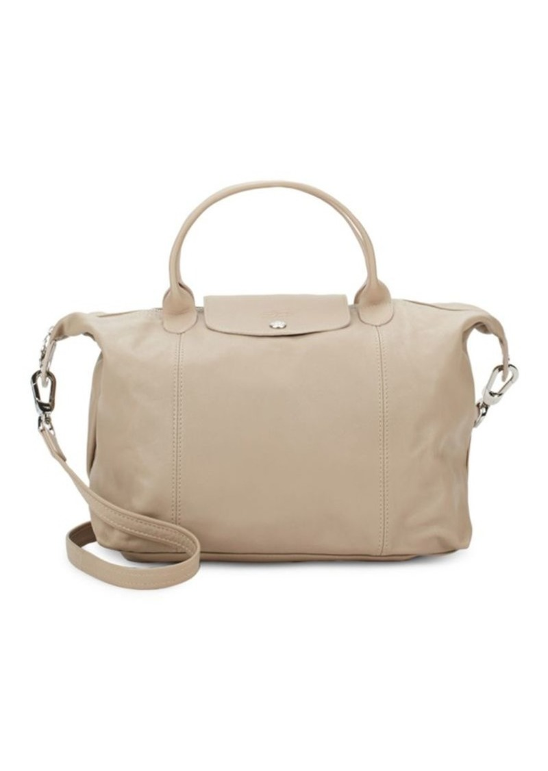 Longchamp Logo Leather Top Handle Bag