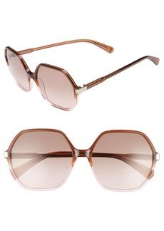 Longchamp 59mm Gradient Lens Hexagonal Sunglasses
