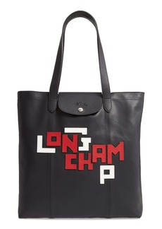 Longchamp Large Le Pliage Logo Leather Tote