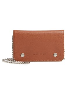 Longchamp Le Foulonné Leather Wallet on a Chain