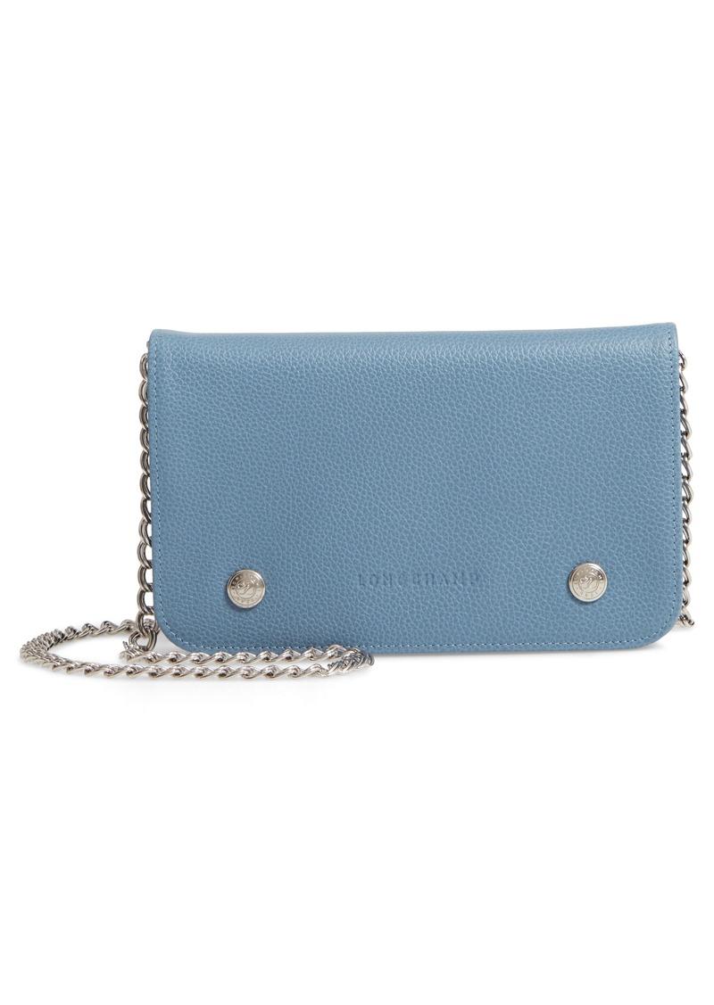 9f3a3804002f Longchamp Longchamp Le Foulonné Leather Wallet on a Chain