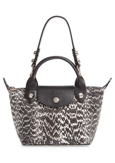 Longchamp Le Mini Pliage Cuir Snake Embossed Leather Top Handle Bag