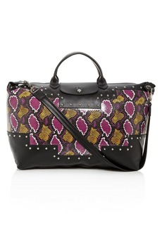 Longchamp Le Pliage Python-Embossed Leather Duffel Bag