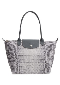 Longchamp Medium Le Pliage Croc Print Tote