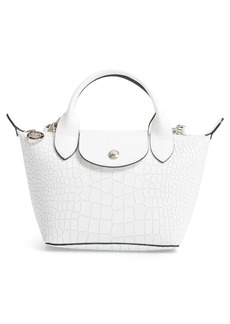 Longchamp Mini Le Pliage Cuir Croc Embossed Leather Top Handle Bag