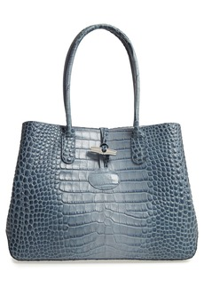 Longchamp Roseau Croc Embossed Leather Shoulder Tote
