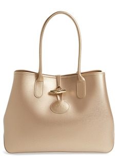Longchamp Roseau Metallic Leather Shoulder Tote
