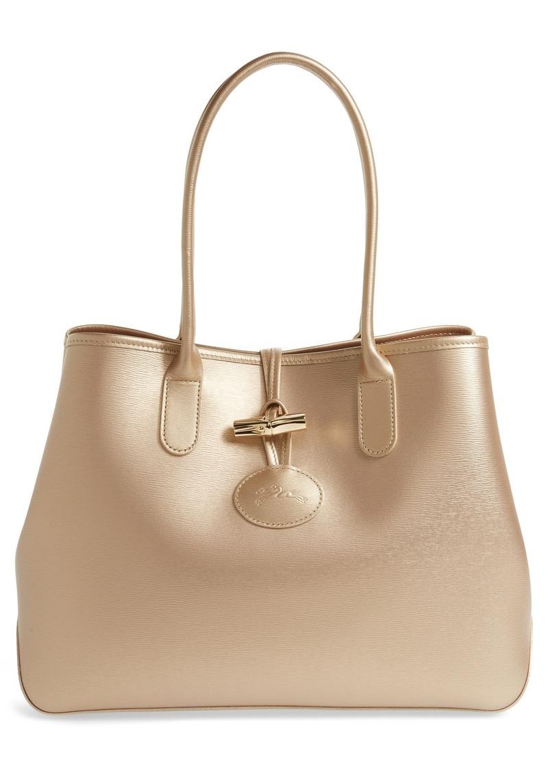0eab7c171921 Longchamp Longchamp Roseau Metallic Leather Shoulder Tote