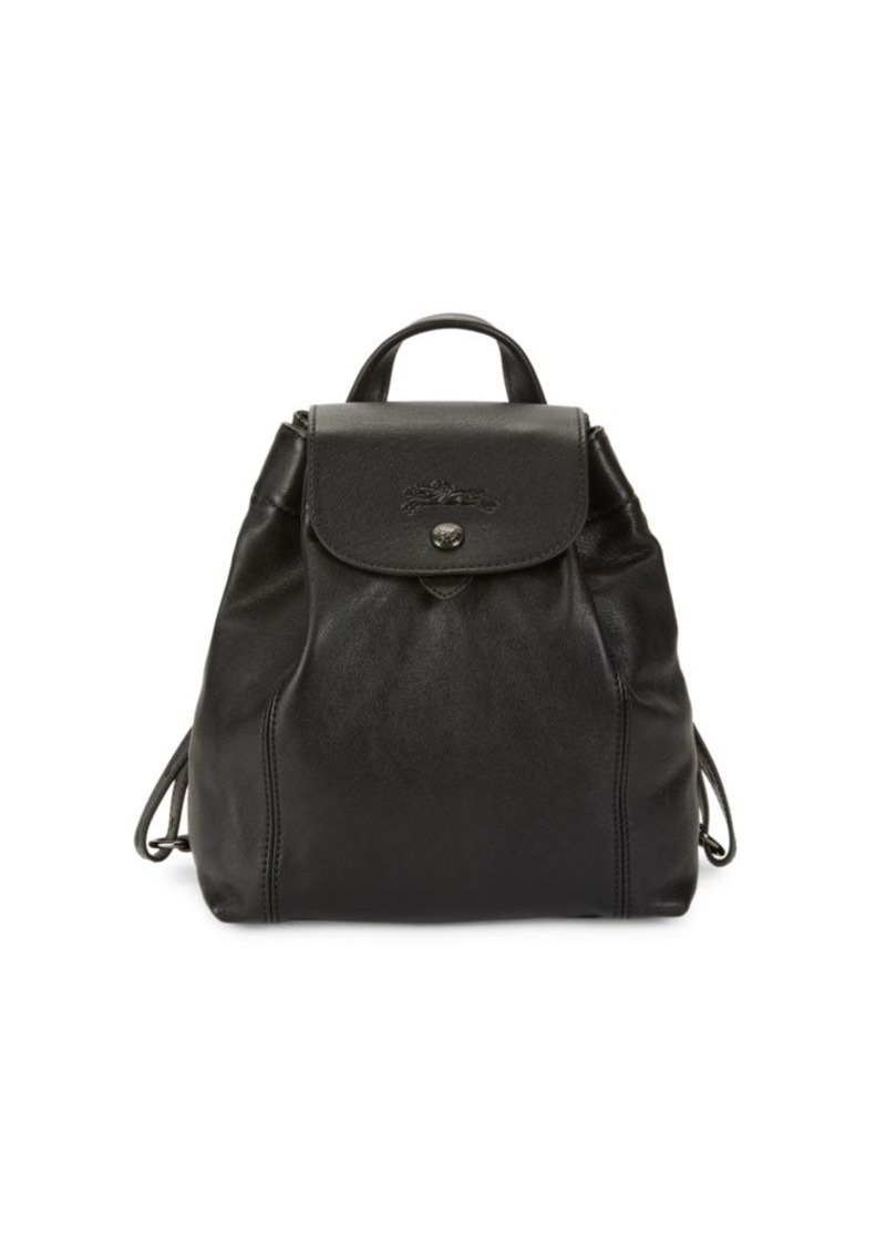 Longchamp Mini Le Pliage Cuir Leather Drawstring Backpack