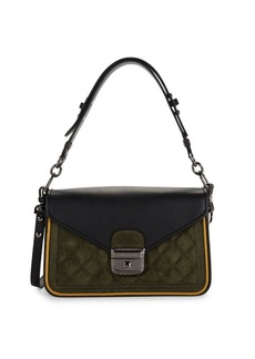 Longchamp Quilted Leather & Suede Convertible Crossbody Bag