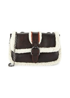 Longchamp Sheep Fur-Trim Leather Crossbody Bag