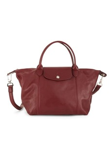 Longchamp Small Le Pliage Leather Top Handle Bag