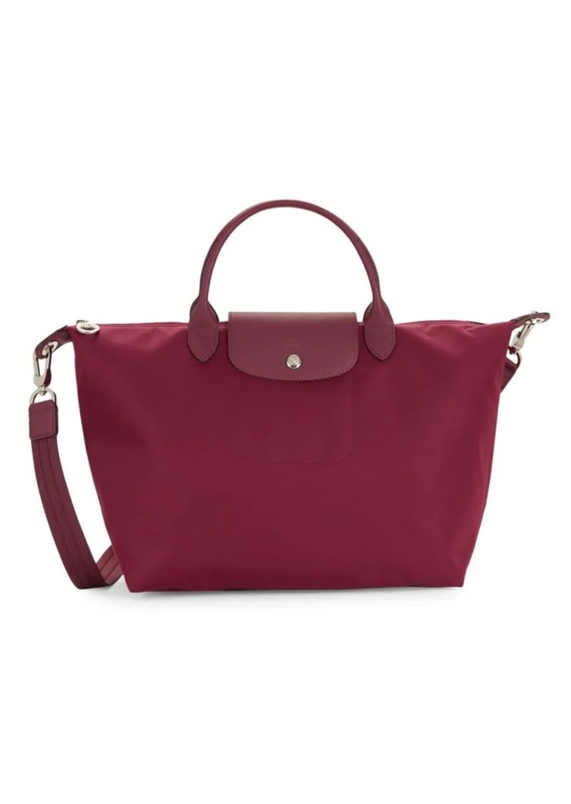 Longchamp Small Leather-Trimmed Top Handle Bag