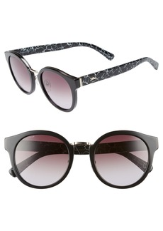Women's Longchamp 51mm Round Sunglasses - Marble Black