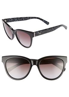 Women's Longchamp 54mm Gradient Lens Cat Eye Sunglasses - Marble Black