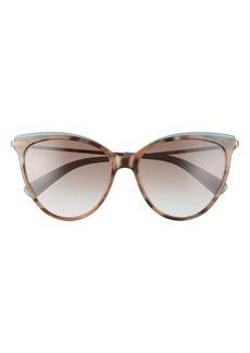 Women's Longchamp 55mm Gradient Cat Eye Sunglasses - Havana Nordic/ Brown Azure