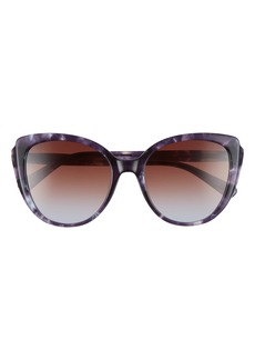 Women's Longchamp 57mm Gradient Round Sunglasses - Black/ Grey Gradient
