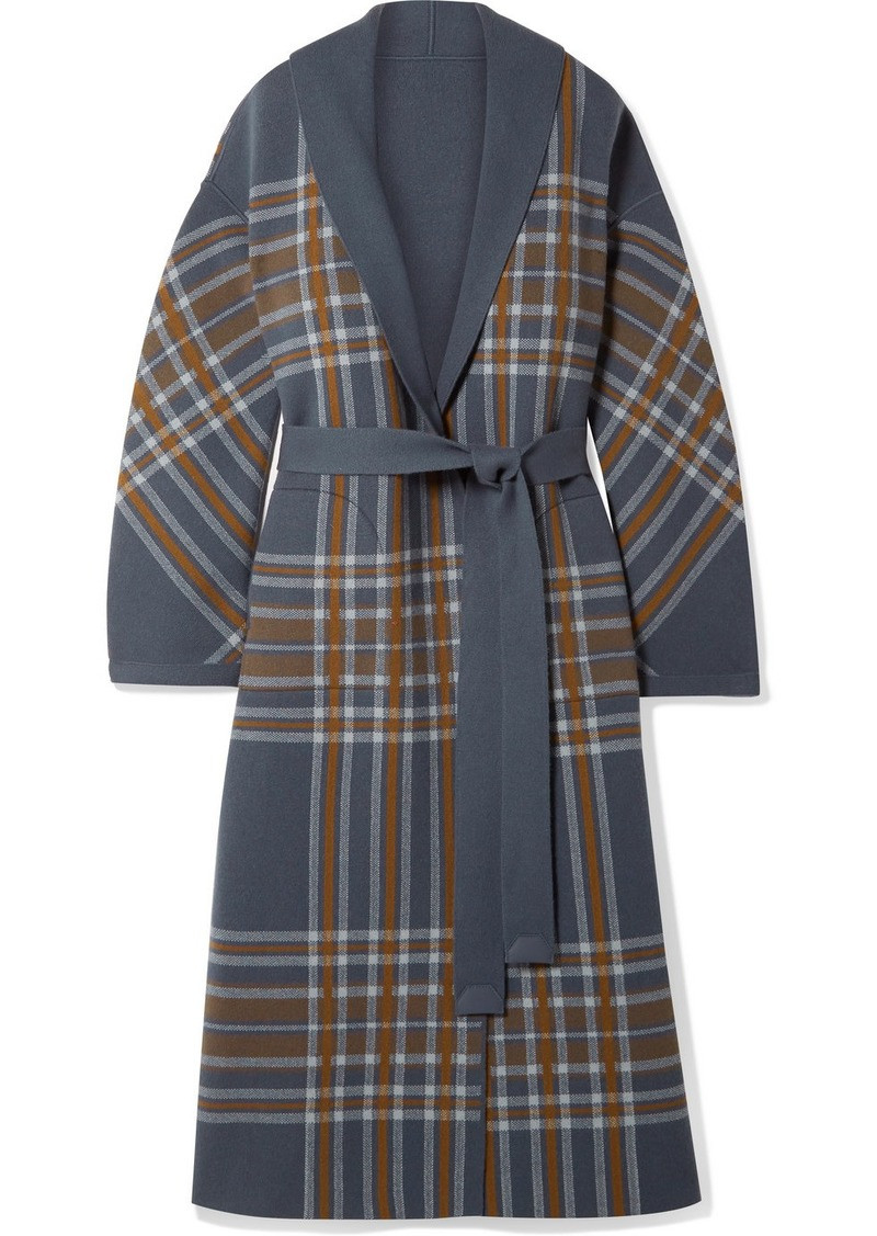 Loro Piana Calgary Reversible Leather-trimmed Belted Checked Cashmere Coat