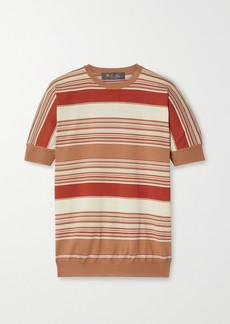 Loro Piana Giroccolo Tangery Striped Silk And Cotton-blend Sweater