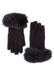Loro Piana Guanto Fox Fur-Trimmed Crochet Gloves