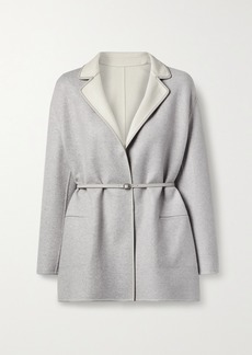 Loro Piana Jimi Reversible Belted Leather-trimmed Cashmere-blend Jacket