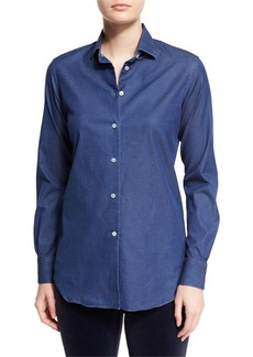 Loro Piana Kara Denim Button-Front Blouse  Insignia Blue