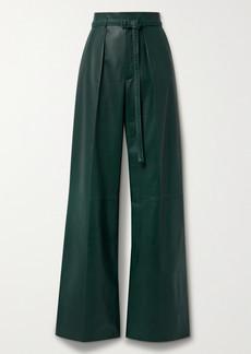 Loro Piana Kyle Alabama Belted Leather Wide-leg Pants