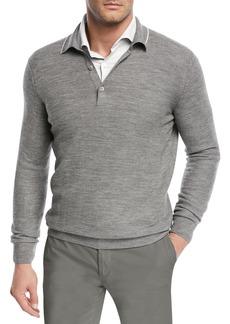Loro Piana Lightweight Wool-Blend Polo Sweater