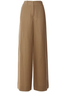 Loro Piana Linen Wide Leg Pants W/rear Welt Pockets