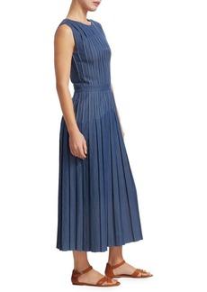 Loro Piana Abito Myrtle Denim Pleated Midi Dress