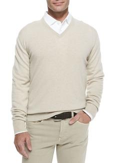 Loro Piana Baby Cashmere V-Neck Sweater  Natural