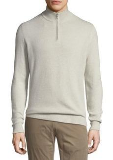 Loro Piana Cashmere Pique Quarter-Zip Sweater